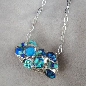 Jewelry - Silver with blue bead detailing necklace